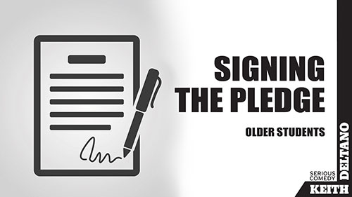 anti cyber bullying pledge – picture of pledge with pen signing